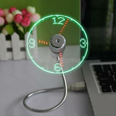 Flexible Gooseneck LED Clock Mini USB Fan Cool For PC Notebook Time Display New