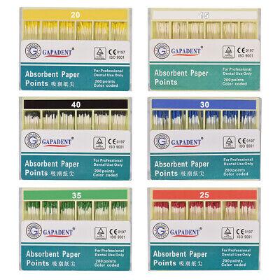 200pcs Absorbent Paper Points Root Canal Endo Cotton Fiber 0.02 15-40 Ce Dental