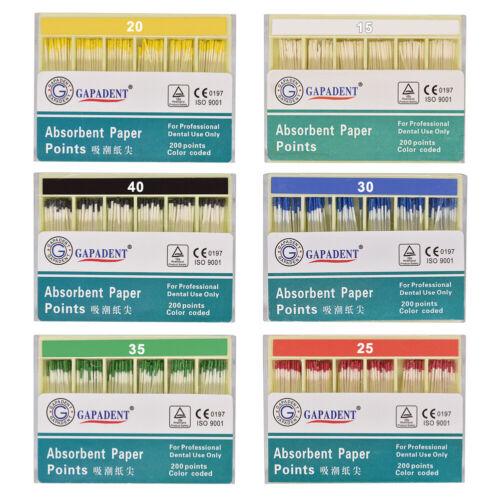 200Pcs Absorbent Paper Points Root Canal Endo Cotton Fiber 0.02 15-40# CE Dental
