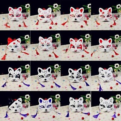 Japanese Anime Half Face Fox Mask Hand-painted Kitsune Halloween Cosplay Gifts