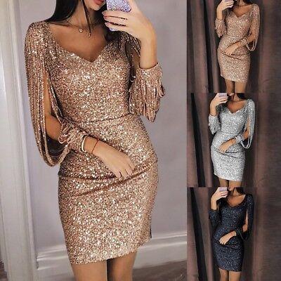 Womens Dressing - Women Maxi Dress Tassel Sequin Evening Cocktail Dress Bodycon Mini Dress Party