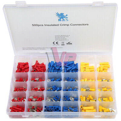 500pcs Assorted Electrical Wire Terminals Set Insulated Crimp Pvc Connector Kit
