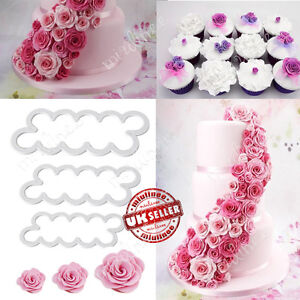 3 X Rose Cake Flower Petal Cutter Fondant Icing Tool Sugarcraft Decorating Mould