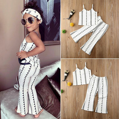 Toddler Kids Baby Girl Summer Clothes Romper Jumpsuit Flare Pants Sunsuit Outfit