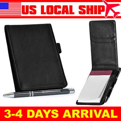 High Quality Deluxe Leather Memo Pad Holder Genuine Leather With Note Pad Pen