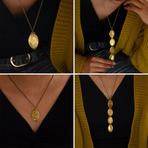Foto Anhänger Vintage Medaillon Halskette Carving Blume Amulett für 4 Fotos NEU