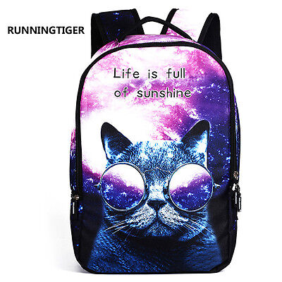 3D Galaxy Cat Print Girl Women Backpack School Bag Rucksack Travel Satchel (Print Backpack)