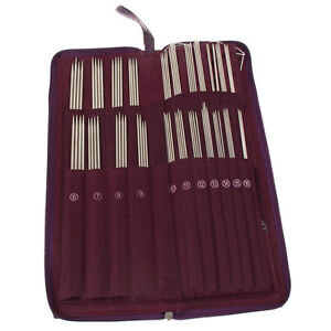 104Pcs Circular Straight Knitting Needle Double Crochet Hook Weave Pin Set W/Bag
