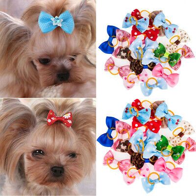Puppy Assorted Hair Bows For Small Dog Cat Pet Bowknots Grooming Accessory 20PC