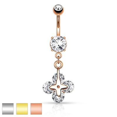 Surgical Steel Belly Button Piercing Pendant Clover with Four Circular Zirconia