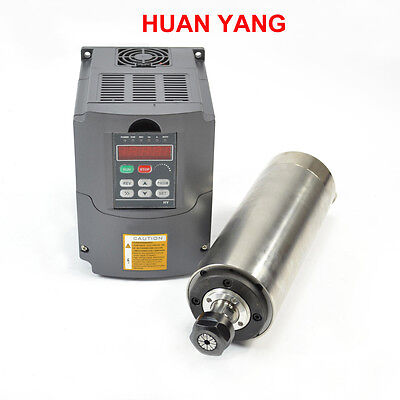 2.2kw Er20 Water Cooling Spindle Motor W Matching 2.2kw Vfd Inverter Drive Cnc