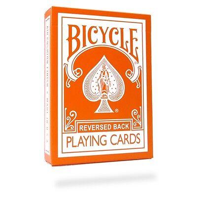Orange Reversed Back Deck Bicycle Playing Cards Poker Size USPCC + Magic Tricks