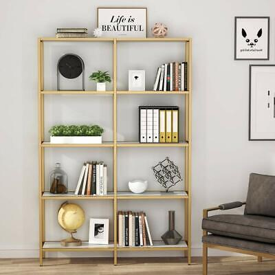 Tribesigns 5-Tier Gold Bookshelf Double Wide Open Bookcase Home Office -
