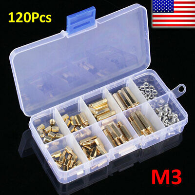 M3 Brass Standoff Spacer And Brass Hex Stand-off Pillars Diy Tool Set 120pcsbox
