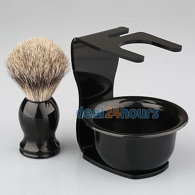 Best Badger Shaving Set (New Best Badger Hair Shaving Brush BLK+Arcylic Brush Drip Stand+Bowl Mug)