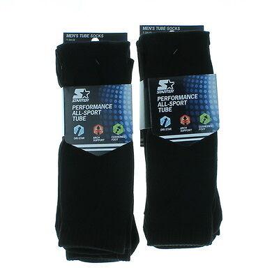 4 Pairs Men's Starter Black Performance All Sport Tube Socks Size 6-12