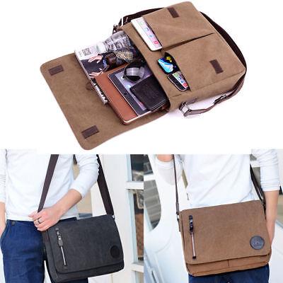 Herren Umhängetasche Canvas Messenger Bag Büro Studium Reise Schultertasche