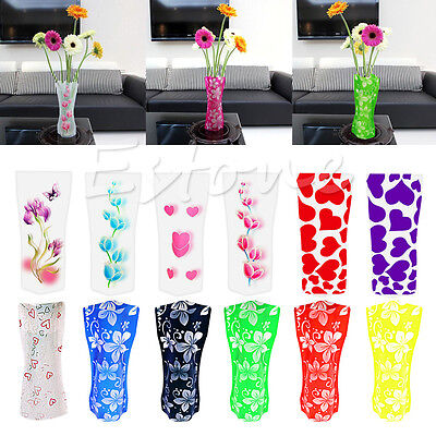 2pcs Foldable Plastic Unbreakable Reusable Flower Home Decor Vase Color Random