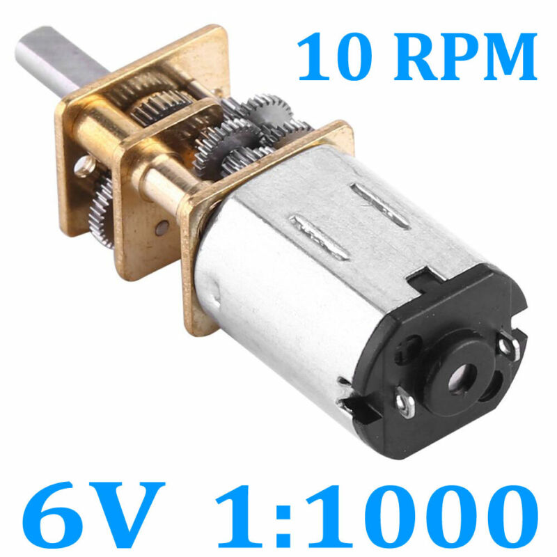 DC 6V 10RPM High Torque Low Speed Electric Gear Motor Ratio 1:1000 12mm/0.47 New