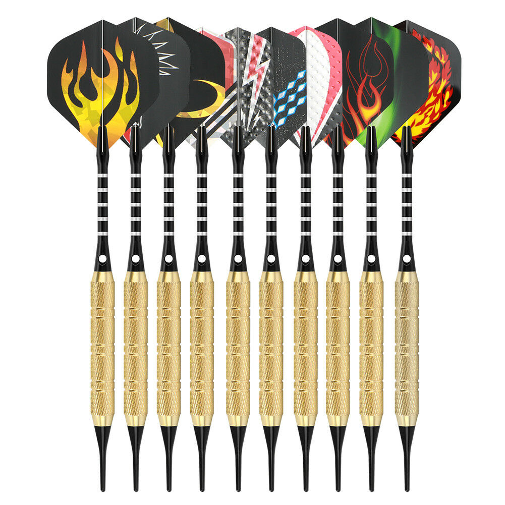 12 Dartpfeile mit 100 Dartspitzen Flamme Soft-Dartpfeile 5 Sets je 3 Flights 18g