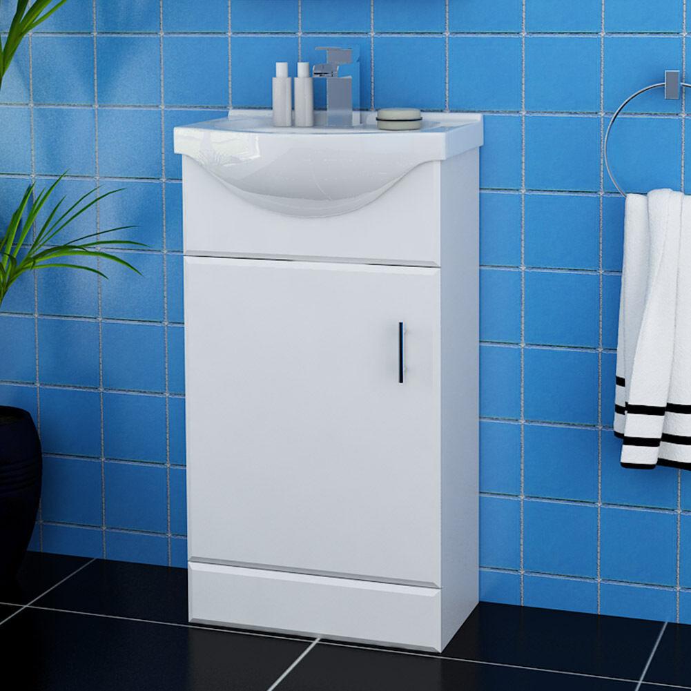bathroom vanity unit ceramic sink white floor standing storage cabinet