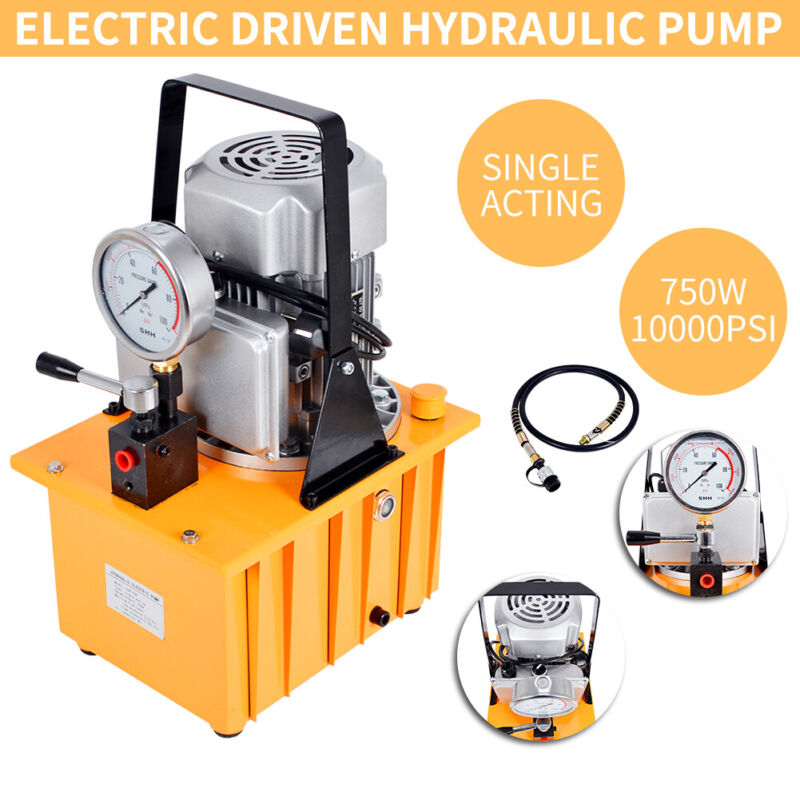 Electric Driven Hydraulic Pump 10000PSI Single Acting 110V 8L Oil Capacity