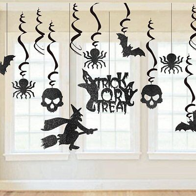 - 13pc Scare Halloween Party Swirl Witches Bats Spider Ceiling Hanging Decoration