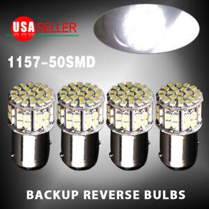 4x 6000K White 1157 BAY15D 50-SMD LED Tail Stop Brake Light Bulbs 1152 7528 12V