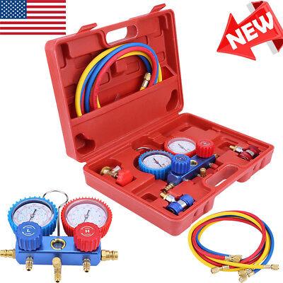 Ac Manifold Gauge Hose 5ft Air Conditioner Refrigerant Maintenance R134 W Case