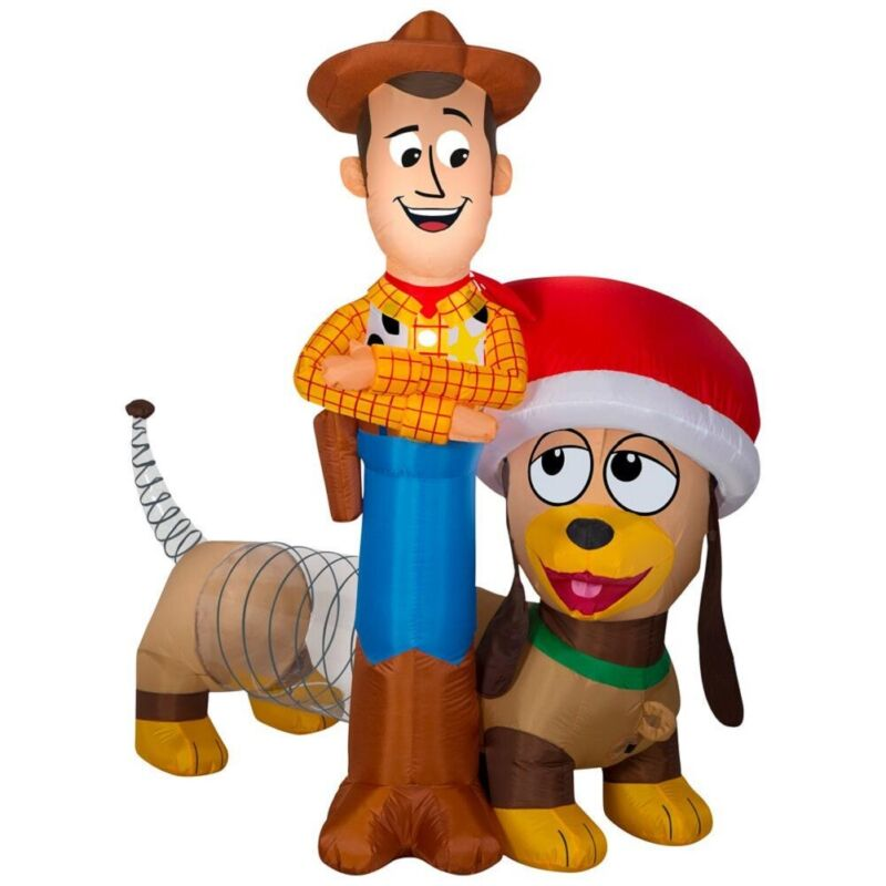 Disney 6 FT Wide Prelit Inflatable Airblown Inflatable Woody and Slinky Scene
