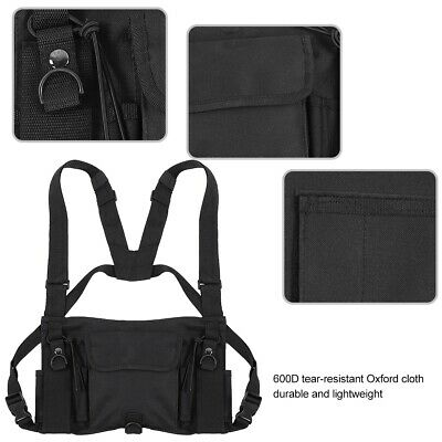 Universal Radio Chest Harness Hands Free 3 Pocket Holster Vest For Two Way Radio