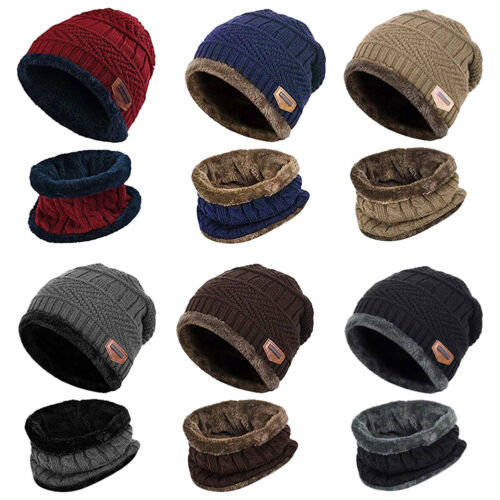 Men Winter Knitted Scarf and Hat Set Warm Knitting Thicken S