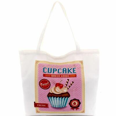 Cupcake Print Canvas Shopper Tote Bag