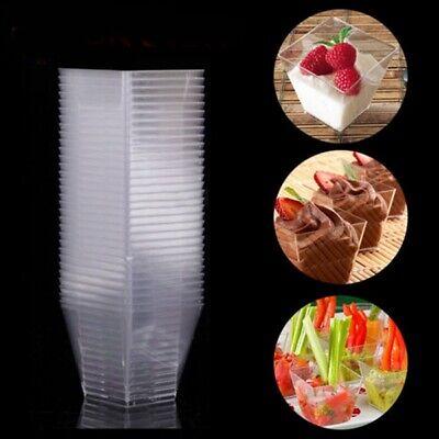 50/100X 60ml Dessertschalen Transparent Eisbecher Plastikschälchen Einwegbecher