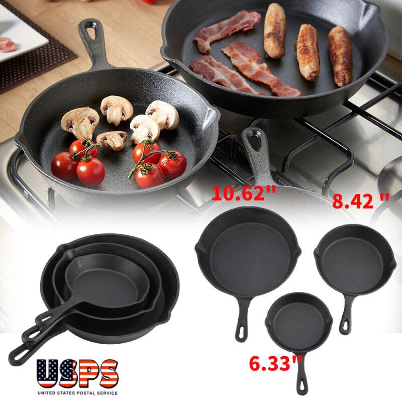 Pre-seasoned Cast Iron 3 Piece Skillet Set Stove Oven Fry Pans Pots Cookware Pan