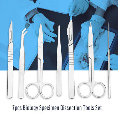 New 7pcs Dissecting Dissection Kit Set Medical Biology Student Lab Tools Silver