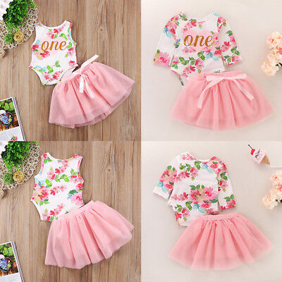 Floral Romper +Skirts First Birthday Outfits Clothes for Toddler Baby Kid Girls - Holiday Clothing For Toddlers
