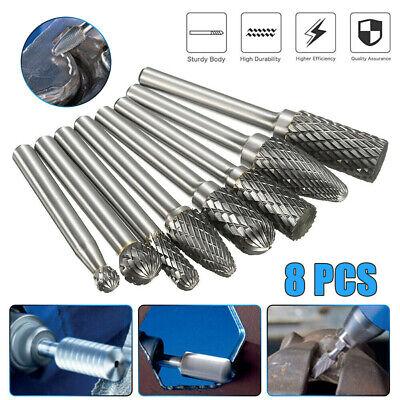 Us 8pcs Tungsten Carbide Burrs Rotary Burr Set Head 14 Shank Die Grinder Bit