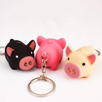 Cute Pig LED Light Sound Key Chain Keyring Car Bag Pendant Decor 2019 Gift (Pig Key)