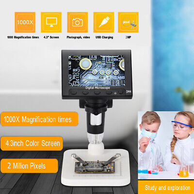 4.3 Lcd 1000x Desktop Led Digital Microscope Compound 2mp Camera 720p W Stand