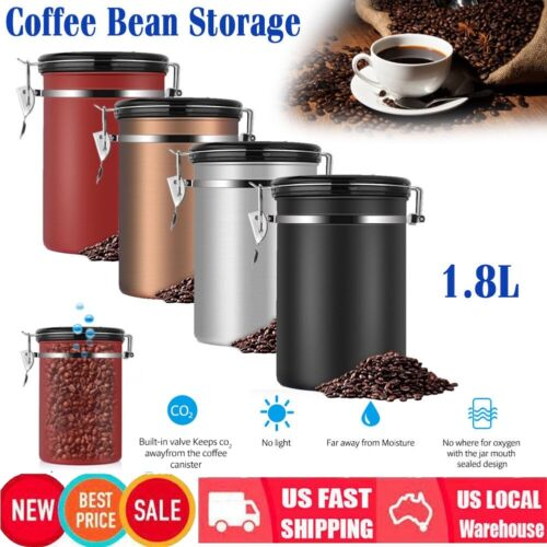 1.8L Coffee Bean Vacuum Seal Container Stainless Steel Airti