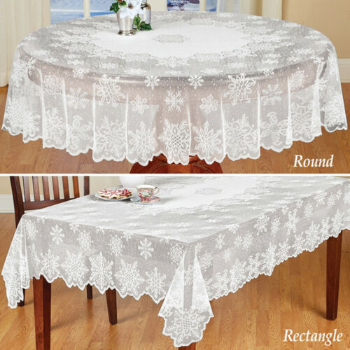 White Lace Tablecloth Table Cloth Covers Vintage Snowflake D