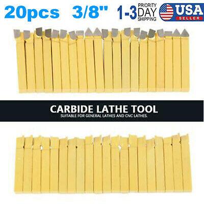 20 X 38 Carbide Tip Tipped Cutter Tool Bit Cutting Set For Metal Lathe Tooling