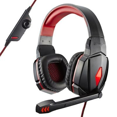 3.5mm Gaming Headset Stereo Surround Headphones LED USB with Mic For PC Black