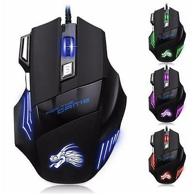 5500 DPI Gaming Mouse 7 Buttons Color LED USB Optical Wired For Pro Gamer Best