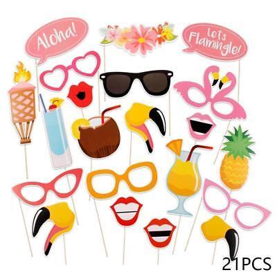 21 pcs Photo Booth Props Kit DIY Hawaii Summer Beach Party Luau Theme