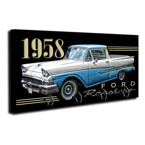 1958 Ford Ranchero Pick Up Truck Design Wood Key Hanger Dog Leash Holder
