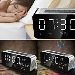 Portable Wireless Bluetooth Speaker Alarm Clock FM Radio Stereo LED Display US