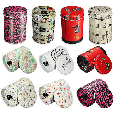 CYLINDRICAL METAL SUGAR COFFEE TEA TIN JAR CONTAINER CANDY SEALED CANS BOX FADDI ()
