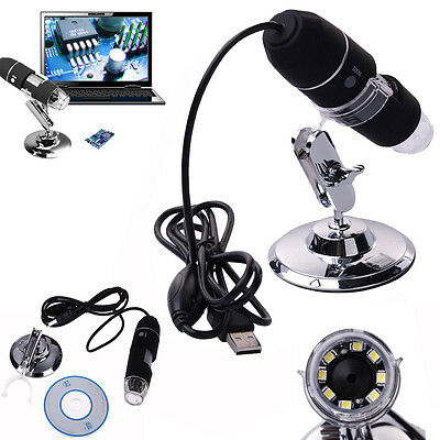 2MP 1000X 8 LED USB Digital Microscope Endoscope Zoom Camera Magnifier + Stand on Rummage
